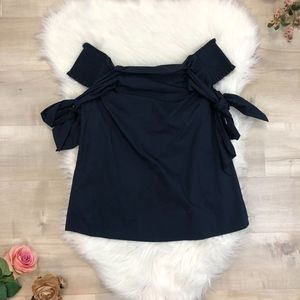 NWOT Soprano Navy 'Off-the-Shoulder' Bow Top Small
